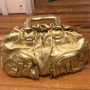 Shiny gold leather Bulga handbag